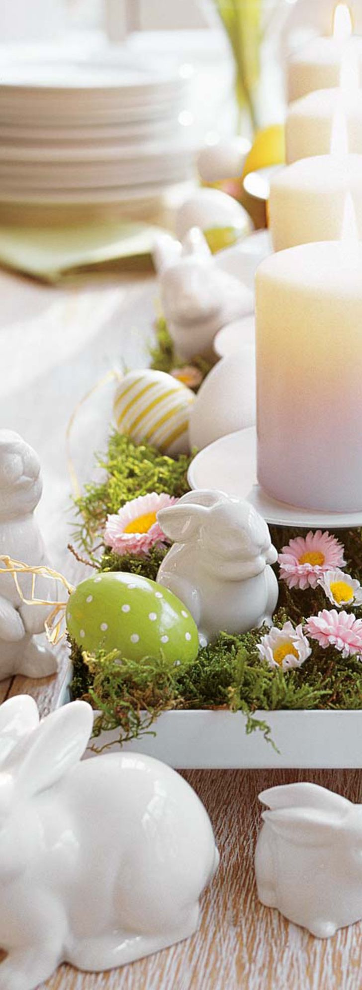 Easter Centerpiece with Bunnies and Candles | Easter Decorating Ideas