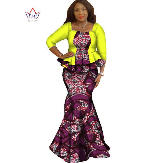 Spring skirt set african designed clothing traditional bazin print Bazin Riche plus size skirt set evening dress none WY1338