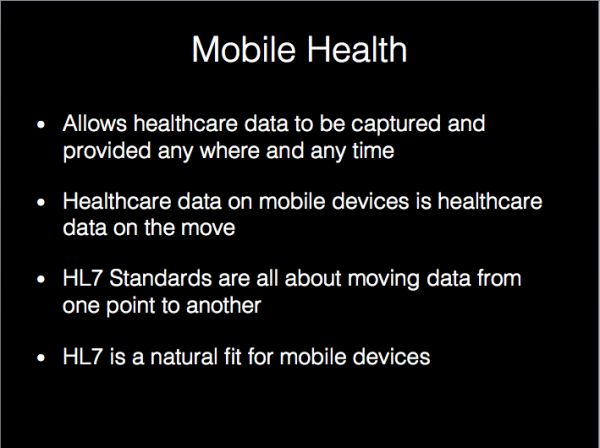 How mobile health relates to #HL7 standards. #mHealth