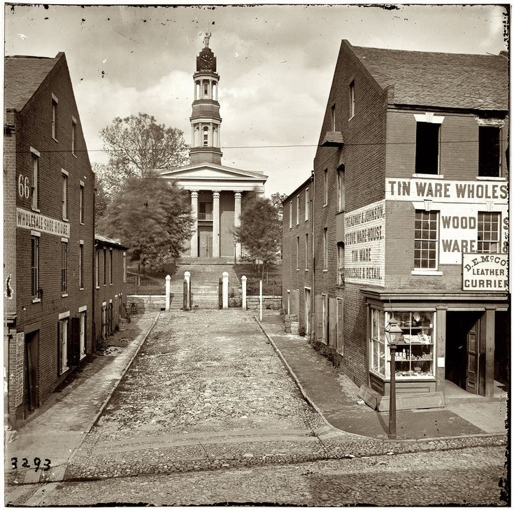 The Petersburg, Virginia, courthouse in 1865. From photographs of the main Eastern theater of war, the siege of Petersburg, June 1864-April 1865. Glass plate negative, right half of stereograph pair. Photographer unknown.