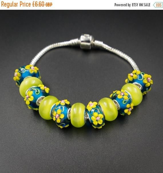 ON SALE Lime teal flower european style by CretanHareCreations