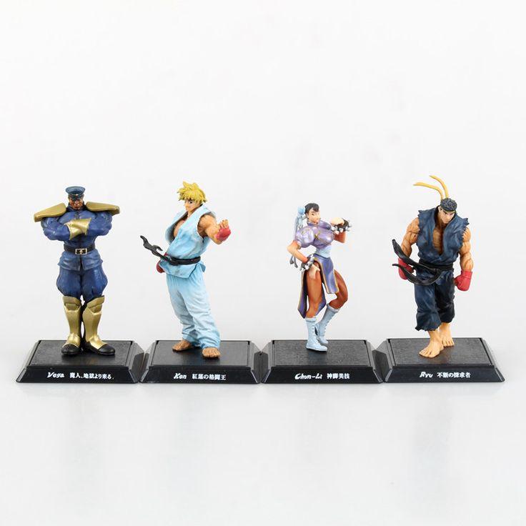 4pcs/set Street Fighter Ken Chun Li Vega Ryu PVC Action Figure Collectible Model Toy 9-11cm KT1718