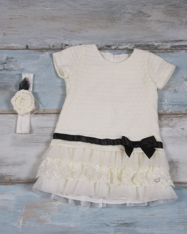 Wool ivory dress with tulle & lace finish & black bow | Maching headband with flower decorated with a small pearl