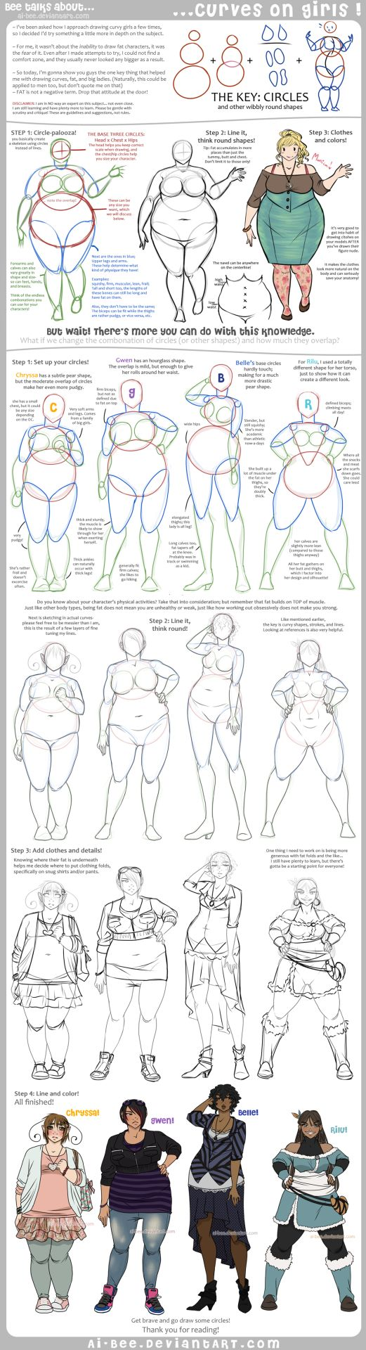 eschergirls:  juniysa:  Hey new followers! In addition to writing, I also reblog art and great writing/drawing tips. This tutorial is incredible if you are a character designer looking to diversify your female characters. Adding weight to a character is not as simple as drawing a simple body and curving the lines; you have to know the body structure to get it right. A helpful guide for comic artists, character designers, and cosplayers alike. Tutorial - Curves on Girls by *Ai-Bee Edit…