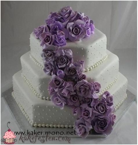Hexagon med lilla roser