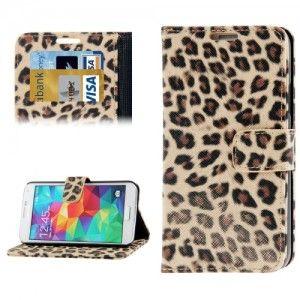 Samsung Galaxy S5 wallet hoesje luipaard bruin