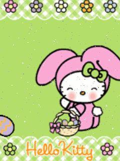 Logo animé gratuit - Hello Kitty - Pâques