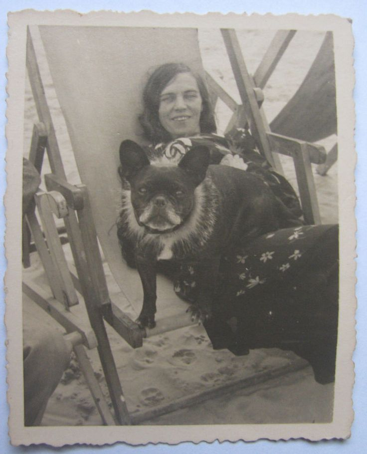 Vintage original real photo bull dog lady girl Latvia actress ? Riga old