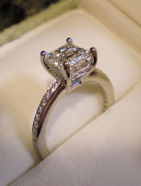 real ritani engagement rings 14 carat princess cut with french set diamond band ritanipinterest ritani engagement rings pinterest beautiful - Real Diamond Wedding Rings