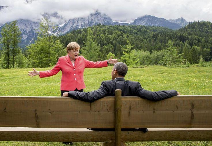 German Chancellor Angela Merkel speaks with U.S. President Barack Obama outside the Elmau castle in Kruen near Garmisch-Partenkirchen, Germany, June 8, 2015. REUTERS/Michael Kappeler/Pool