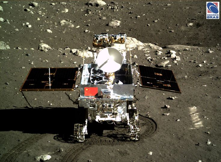 A camera aboard the Chang'e 3 lander captured this view of the Yutu rover in December 2013. Credit: Chinese Academy of…