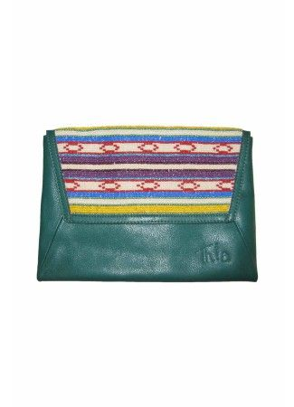 Green Crafted Clutch with Seed Beads