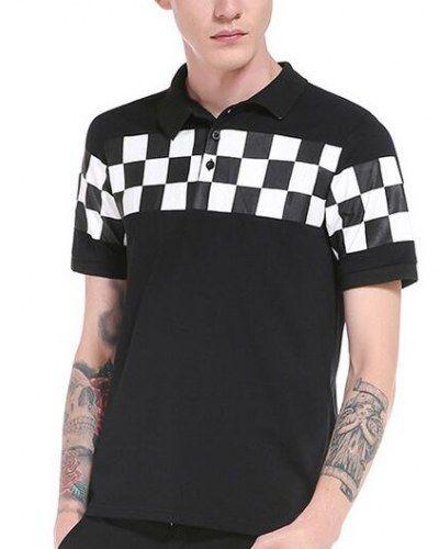 Black and white plaid polo shirt for men short sleeve