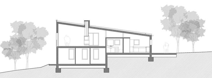 From the entrance we go up half a level to the living room, down half a level to the bedrooms. This strategy minimizes excavation costs and creates an open plan under a common roof.