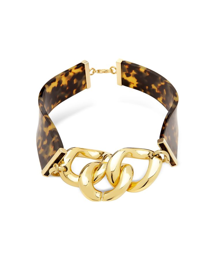 Tortoise Resin Link Choker by Brendan Cannon for Pluma is crafted in tortoise resin and gold toned brass for a glamorous vintage look. Featuring wide choke collar in a curved style with three extra large gold chain links. Italian made jewelry. #Jewelry #fashion #style #women