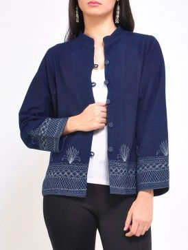 Indigo Embroidery Khadi Jacket