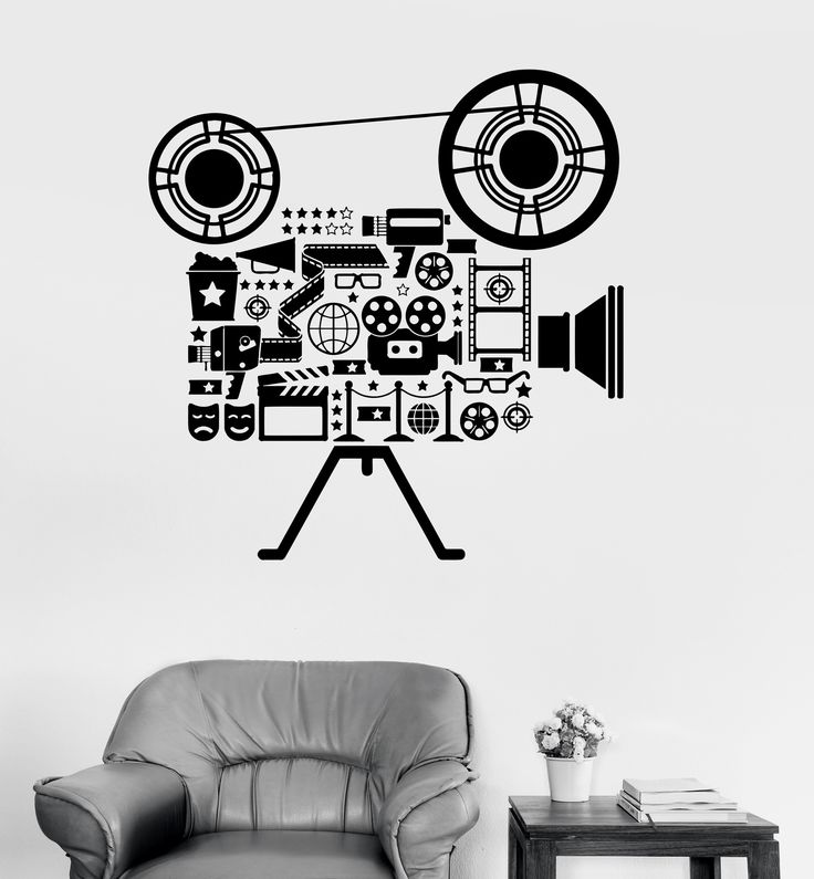 Vinyl Wall Decal Film Cinema Movie Camera Filming Art Room Stickers (ig3151)