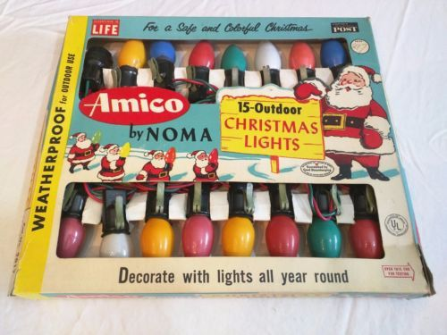 Box-Vintage-50s-60s-NOMA-Christmas-Lights-15-Outdoor-Amico-in-Box-WORKS-C9