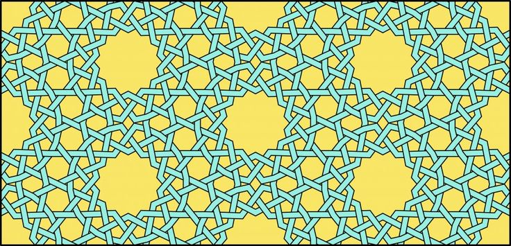 An obtuse Islamic geometric pattern with 14-pointed stars that repeats on a rhombic grid.