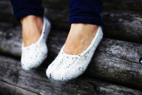 White hand knit luxury especially soft socks slippers for women or girl
