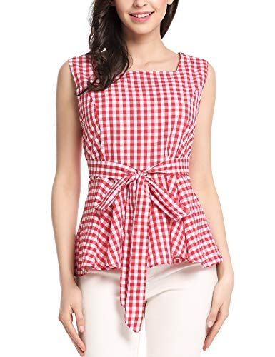 035ea62e5077b5 Zeagoo Women Sleeveless Plaid Peplum Convertible Tie-Belt Wear to Work Tank  Top Red