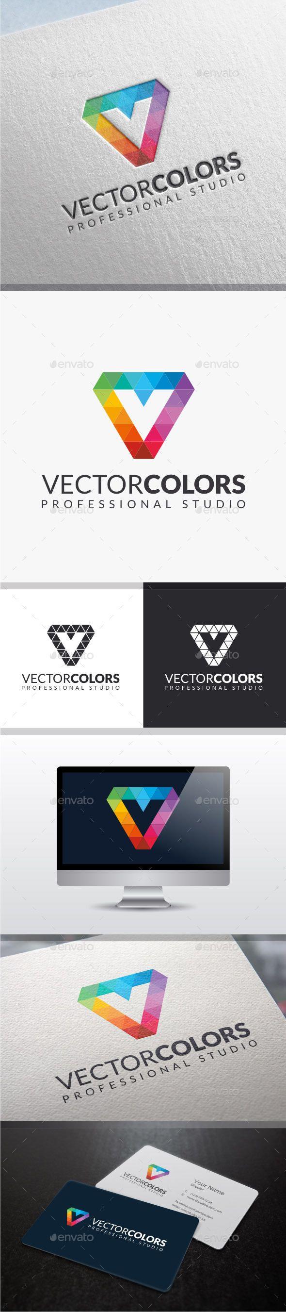 Vector Colors - Letter V Logo #diamond  #studio #technology #template • Available here → http://graphicriver.net/item/vector-colors-letter-v-logo-/8990374?s_rank=167&ref=pxcr