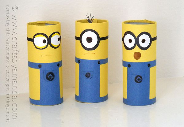 Cardboard Tube Minions by @Amanda Formaro Crafts by Amanda