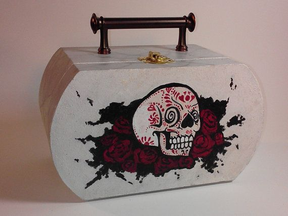 Wooden Purse, Skull and roses on Etsy, $30.00