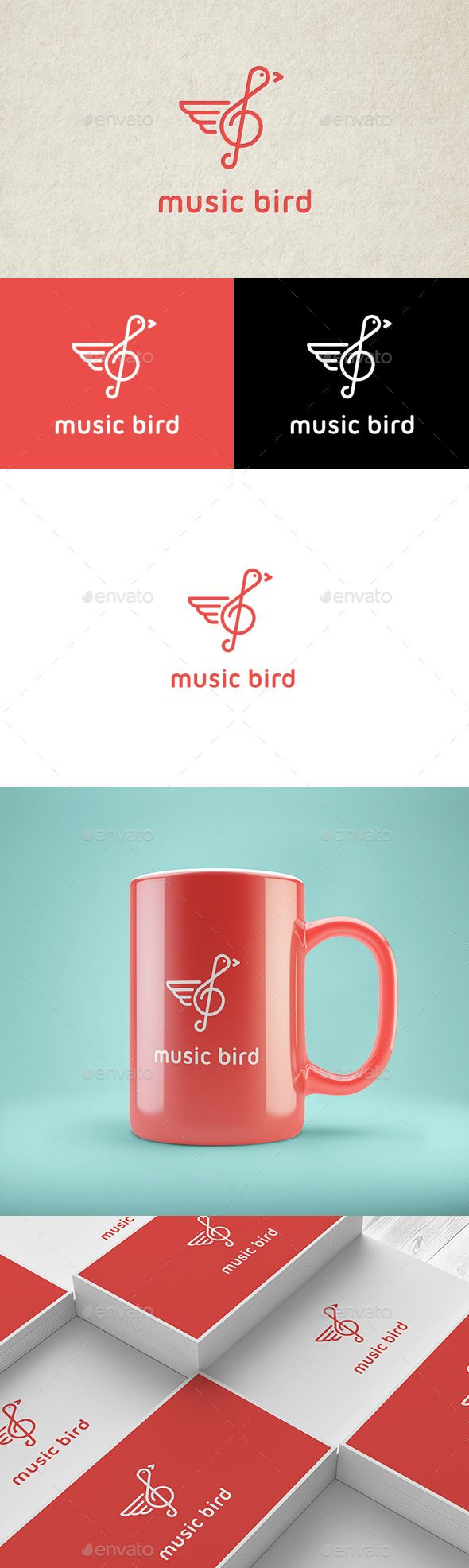 Music Bird  Logo Design Template Vector #logotype Download it here: http://graphicriver.net/item/music-bird-logo/12964753?s_rank=1106?ref=nexion