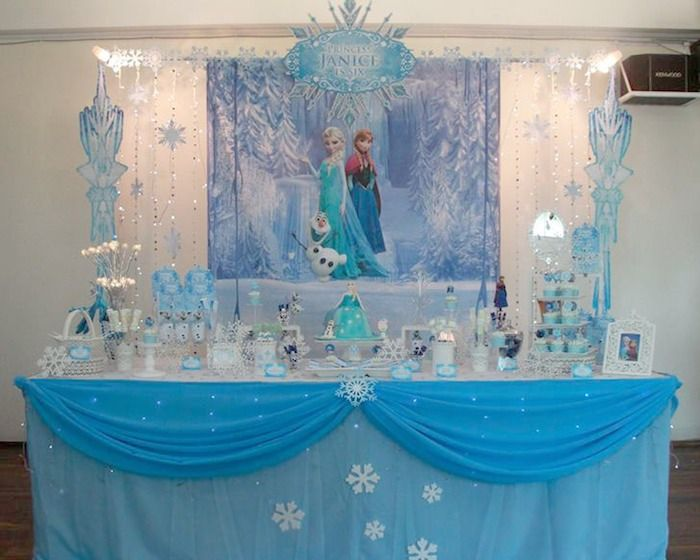 Disney's Frozen themed birthday party via Kara's Party Ideas! full of decorating ideas, dessert, cake, cupcakes, favors and more! KarasParty...