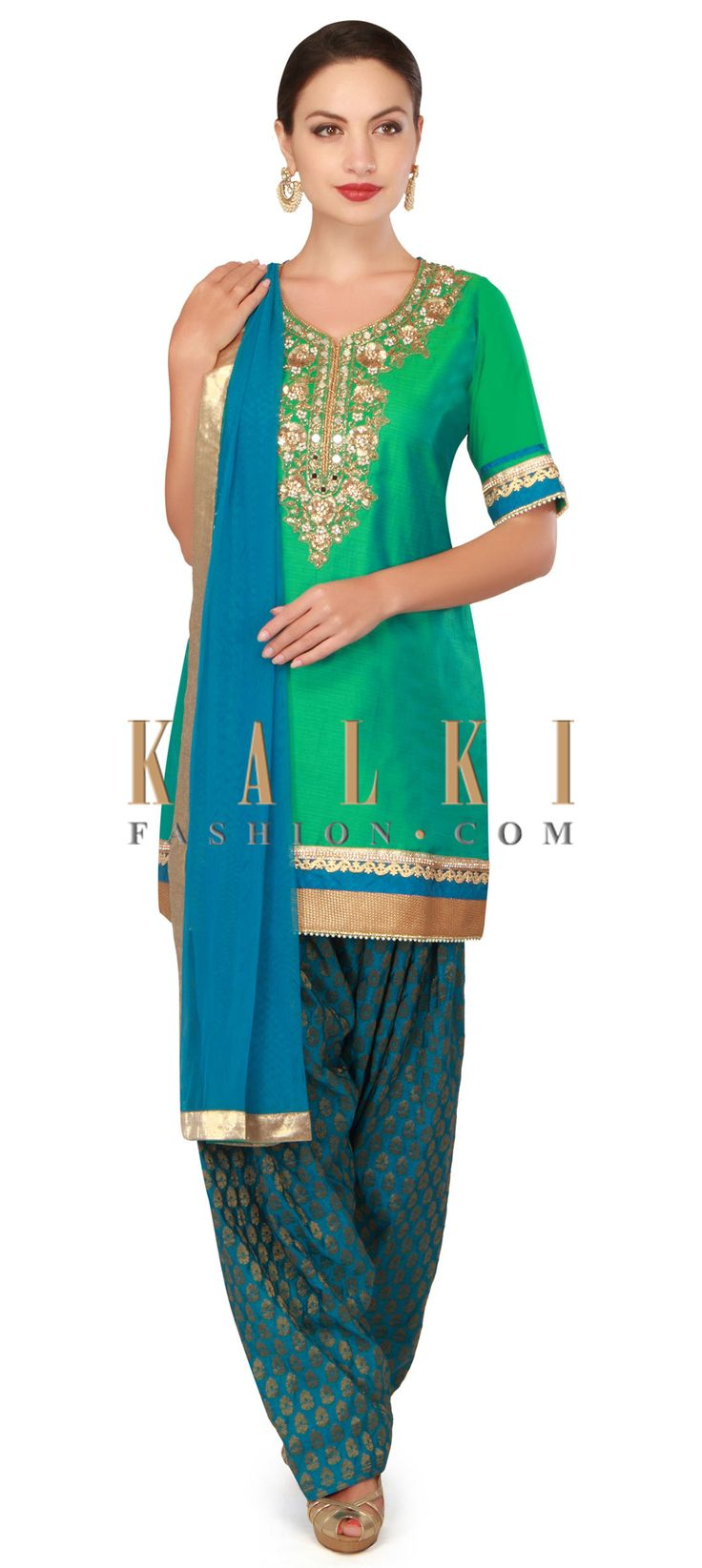 Buy now Green and blue patiyala suit with mirror and sequin work only on Kalki
