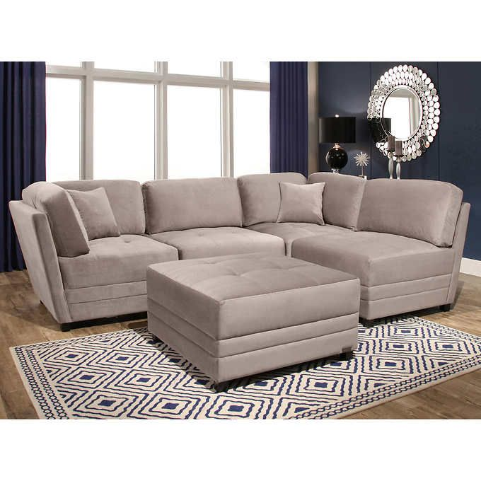 Best Leyla 5 Piece Fabric Modular Sectional Taupe Gray 640 x 480