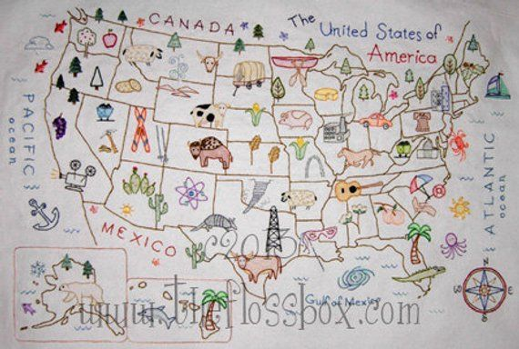 Us Canada Map Applique Embroidery Design Map of the United States Embroidery Pattern | Etsy | Embroidery