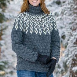Järbo Vintertrøje med mønstret bærestykke 91702