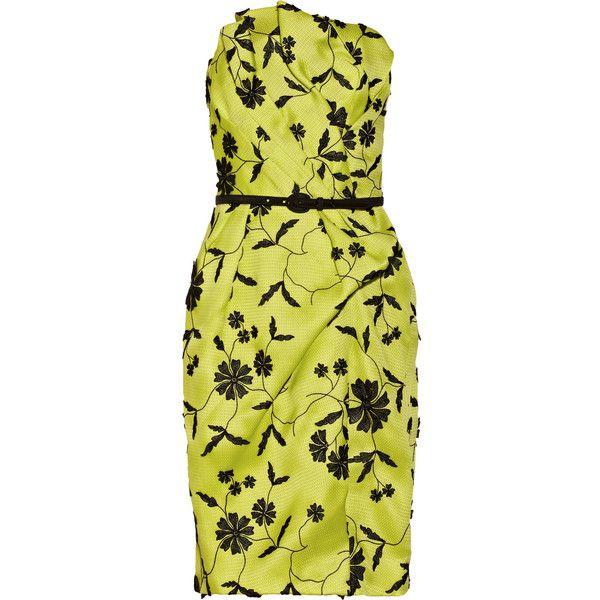 Oscar de la Renta Appliquéd silk-gazar bustier dress ($1,106) ❤ liked on Polyvore featuring dresses, vestidos, chartreuse, silk floral dress, yellow floral dress, oscar de la renta dresses, slimming cocktail dresses and floral bustier dress
