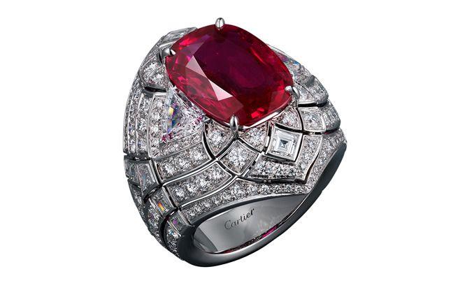 Cartier Royal Collection. Platinum ring Fleur de Lotus, 8.38-carat cushion-cut ruby from Burma, calibrated diamonds, brilliant-cut diamonds.