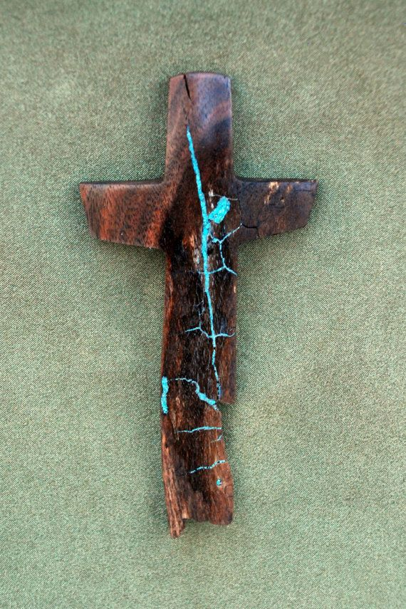 7 high x 3 wide Walnut Cross with Turquoise by BlackFacedSheep, $22.99