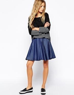 $184, Navy Denim Skater Skirt: Mini Skater Skirt by BOSS ORANGE. Sold by Asos. Click for more info: http://lookastic.com/women/shop_items/124955/redirect