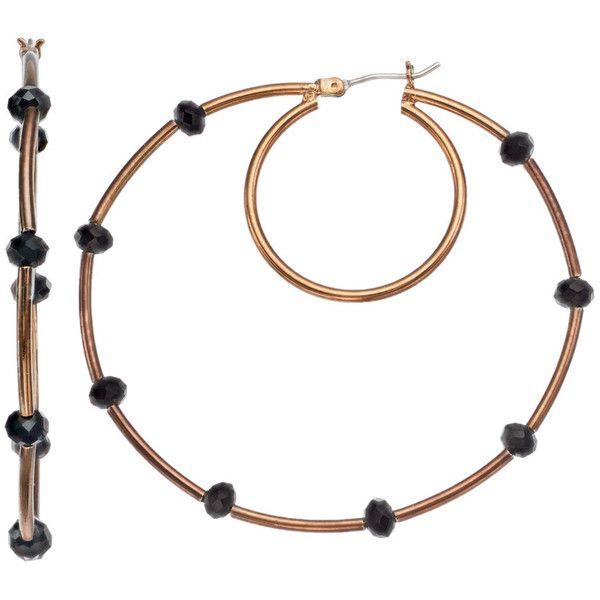 Simply Vera Vera Wang Burnished Nickel Free Hoop Earrings ($13) ❤ liked on Polyvore featuring jewelry, earrings, brown, gold jewelry, vintage gold earrings, gold earrings, nickel free earrings and gold bead earrings