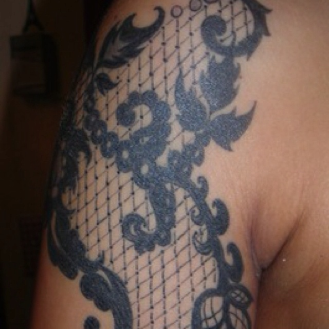 great idea for a fillerLace tattoo Lace tattoo, Blue