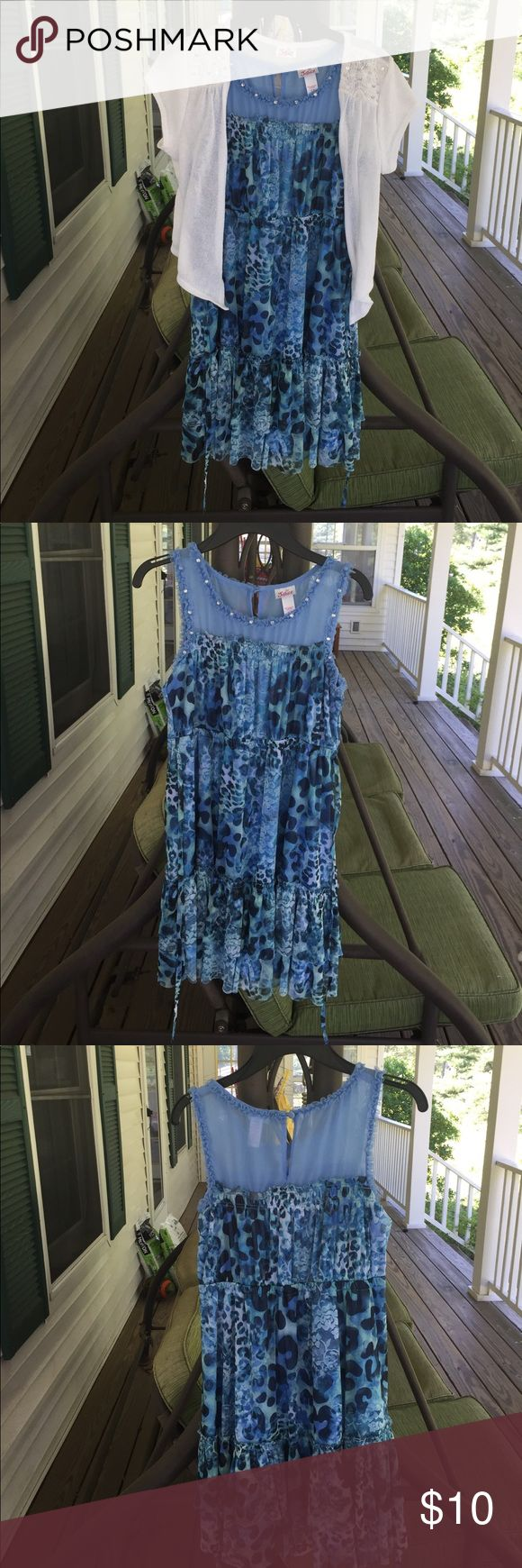 Beautiful blue dress with a white matching sweater Justice dress, EUC. Machine washable and good spring, summer, early fall bc of sweater. Just a hint of sparkle with rhinestones around neck and sequins on top of sweater. Justice Dresses