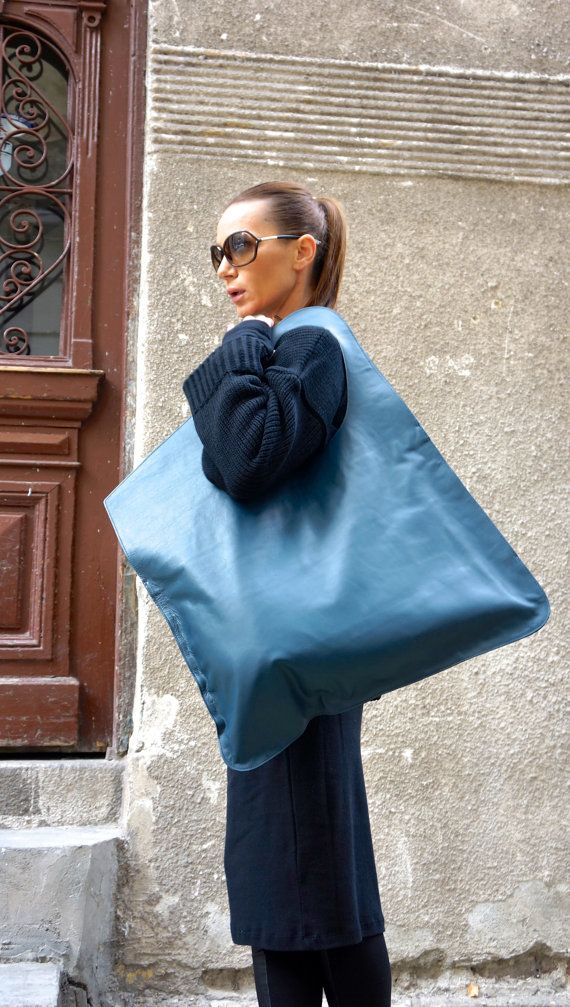GIRLS- How great would this be for art supplies etc?   NEW Collection Genuine Leather NAVY Bag / High Quality  Tote Asymmetrical  Large Bag by AAKASHA A14176