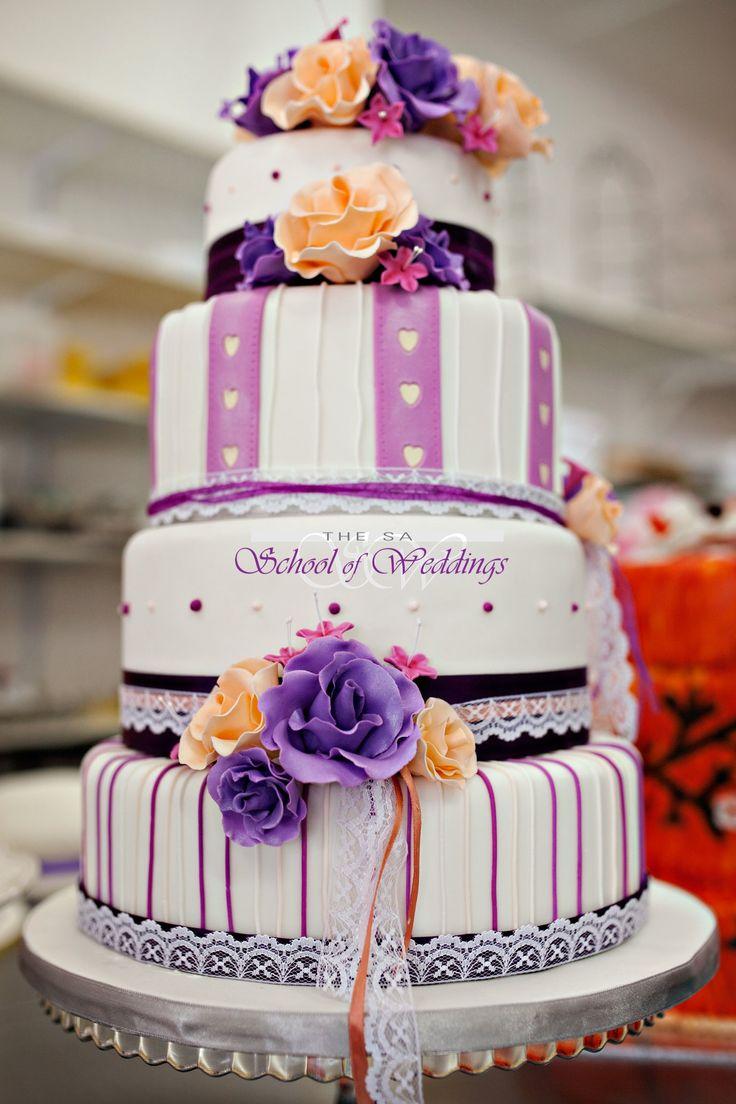Peach & Purple Wedding cake www.saschoolofweddings.co.za