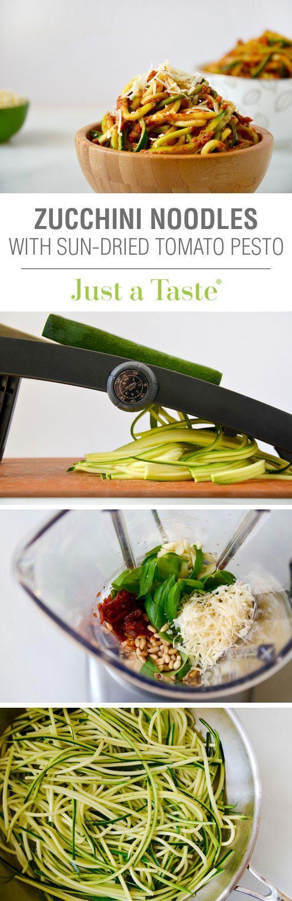 Zucchini Noodles with Sun-Dried Tomato Pesto #recipe from @justataste
