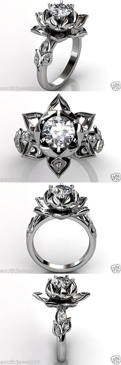 CZ Moissanite and Simulated 92868: Lotus Flower 1.40Ct Solitaire White Simulated Diamond 925 Silver Engagement Ring -> BUY IT NOW ONLY: $135 on eBay!
