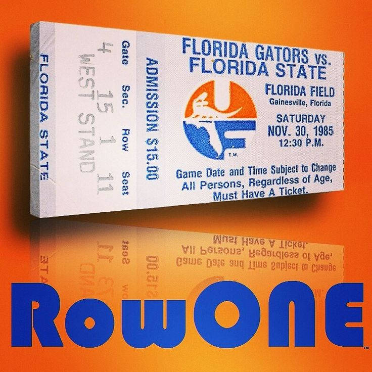 1985 Florida Gators art. Row One Brand: Unique sports art and sports gift ideas. Vintage ticket art and ticket gifts made from 3,000 historic sports tickets. #gifts #giftideas #sports #florida
