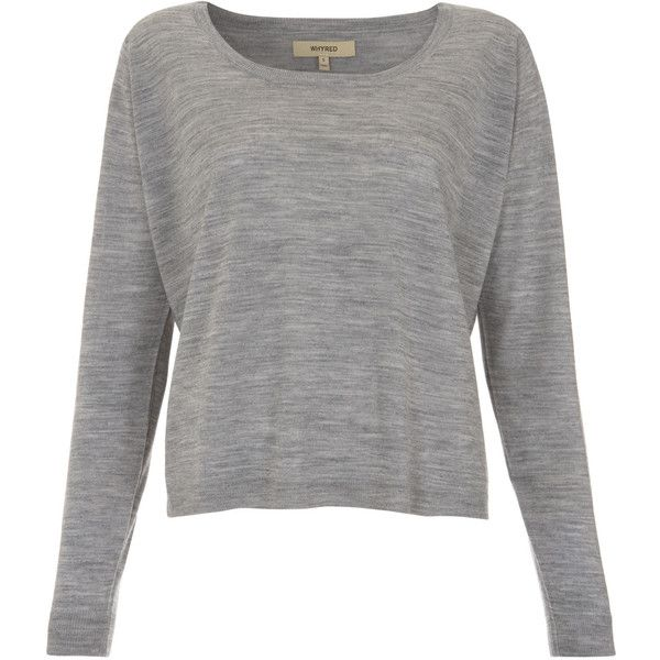 Whyred Grey Melange Merino Jumper ($125) ❤ liked on Polyvore featuring tops, sweaters, shirts, blusas, long sleeve tops, merino wool sweater, grey long sleeve sweater, gray long sleeve shirt and long sleeve shirts