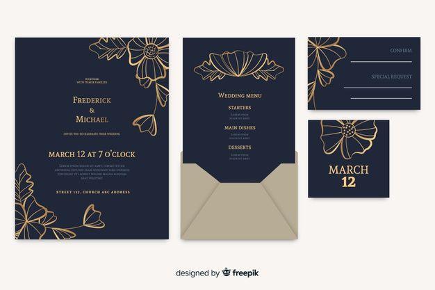 Floral Wedding Card Invitation Free Vector Free Vector Freepik Vector Freeflower Freewedding Freeflor Wedding Cards Wedding Invitation Cards Invitations