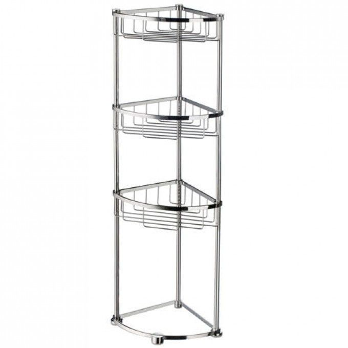 Sideline Collection Freestanding Corner Shower Basket Polished