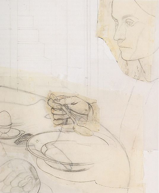 """nearlya: """" Antonio Lopez Garcia. Drawings for the Painting 'The Dinner' """""""